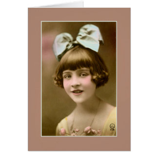 Antique photo 1920s girl with hair bow card