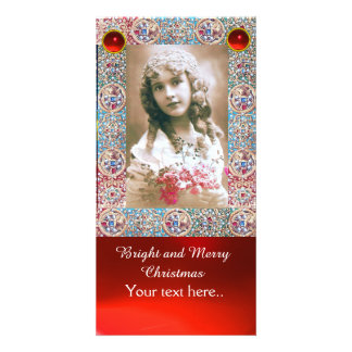 ANTIQUE PHOTO FRAME,ANGELS,PRECIOUS JEWELS,RED GEM CARD