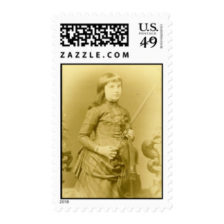 Antique photo, girl w: violin stamp