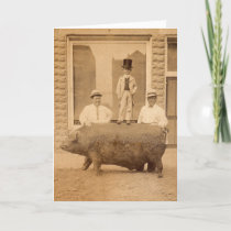Antique Photo Humorous Birthday Greeting with Pig Card