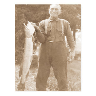 Antique Photo Man Holding a Large Fish Postcard