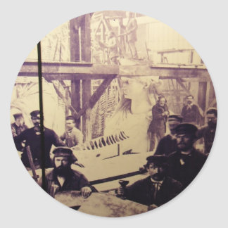 Antique Photo Statue of Liberty Factory Classic Round Sticker