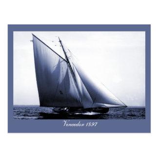 Antique photo Vencedor yacht Postcard