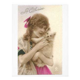 Antique Photo Victorian Woman and Dog Letterhead