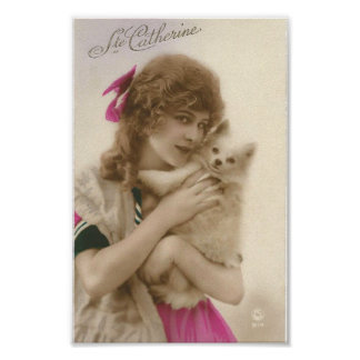 Antique Photo Victorian Woman and Dog Poster