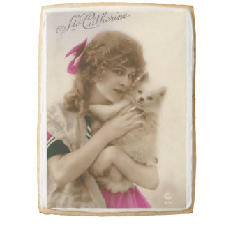 Antique Photo Victorian Woman and Dog Shortbread Cookie