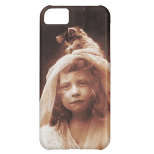 Antique Photograph Girl Cat on Head Funny iPhone 5C Cover