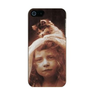 Antique Photograph Girl Cat on Head Funny Metallic Phone Case For iPhone SE/5/5s