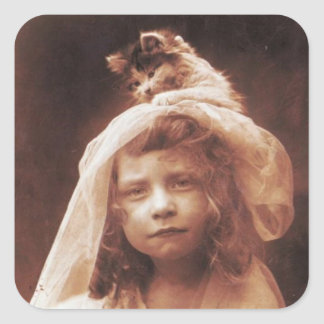 Antique Photograph Girl Cat on Head Funny Square Sticker