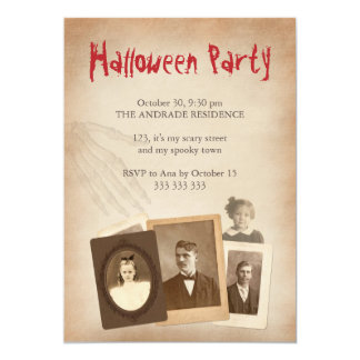 Antique Photos Vintage Halloween Skeleton Hand 5x7 Paper Invitation Card