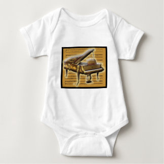 Antique Piano and Music Notation Baby Bodysuit