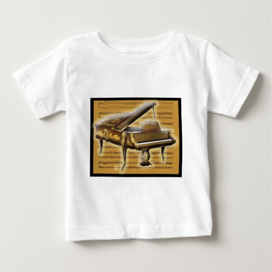 Antique Piano and Music Notation Baby T-Shirt