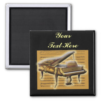 Antique Piano and Music Notation Magnet