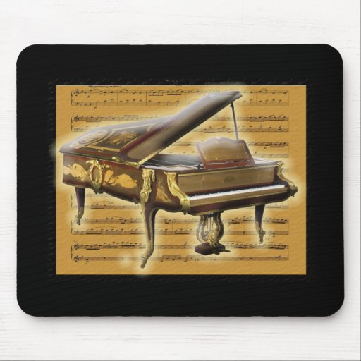 Antique Piano and Music Notation Mouse Pads