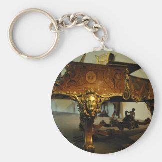 Antique Piano Basic Round Button Keychain