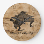 Antique Piano Quote On Old Music Sheet Wall Clock