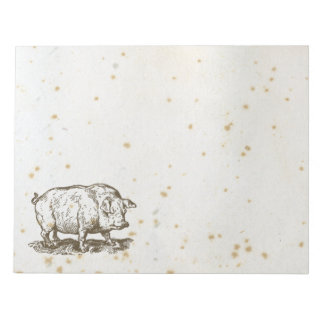 Antique Pig, Cute Stained Piggy Illistration Notepad