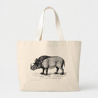 Antique Pig with Tusks on Tote Bag
