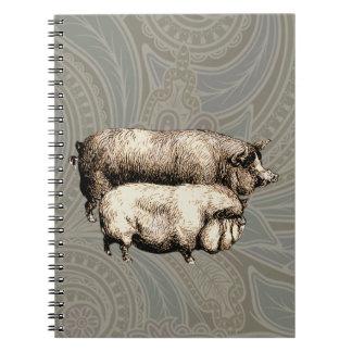Antique Pigs Vintage piggy drawing Notebook