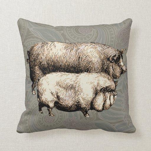 Antique Pigs Vintage piggy drawing Pillow
