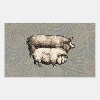 Antique Pigs Vintage piggy drawing Rectangular Sticker