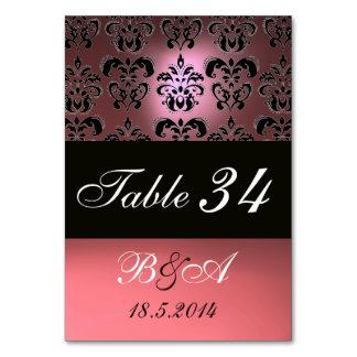 ANTIQUE PINK BLACK CLASSY DAMASK MONOGRAM TABLE CARD