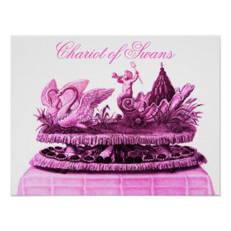ANTIQUE PINK CHARIOT OF SWANS AND CUPCAKES POSTER