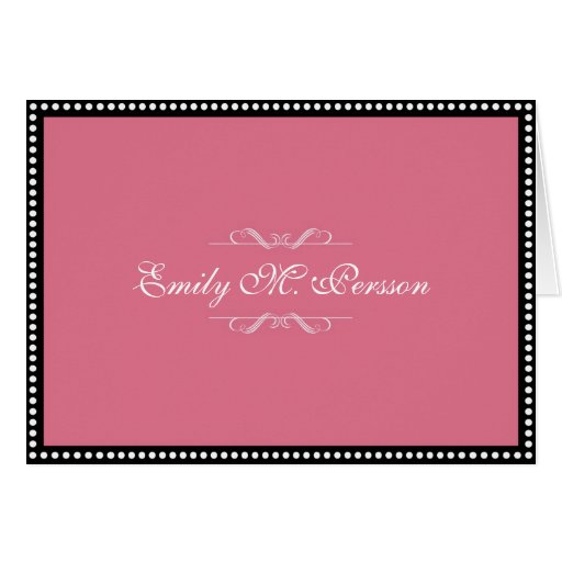 antique pink custom name personal blank note card