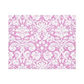 Antique pink damask pattern stretched canvas prints