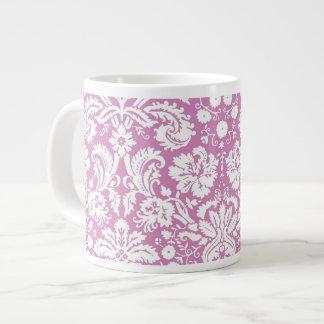 Antique pink damask pattern extra large mugs