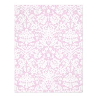 Antique pink damask pattern letterhead