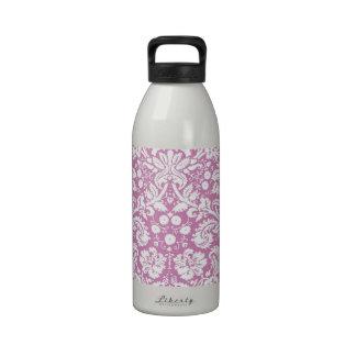 Antique pink damask pattern water bottles