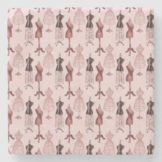 Antique Pink Dress Forms Stone Beverage Coaster