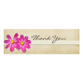 Antique Pink Floral Thank You Note Double-Sided Mini Business Cards (Pack Of 20)