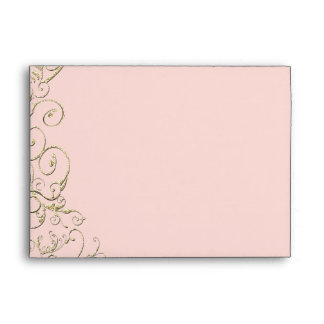 Antique Pink Gold Swirl Wedding Envelope