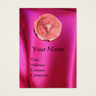 ANTIQUE PINK GRAPES ,FUCHSIA SILK CLOTH BUSINESS CARD