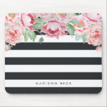 """Antique Pink Peony &amp; Charcoal Stripe Mouse Pad<br><div class=""""desc"""">Modern peony floral mousepad features chic off-black charcoal stripes with a bouquet of blush pink and sage green watercolor peonies blooming from the top. Personalize with a name,  monogram or message using the field provided.</div>"""