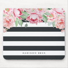 Antique Pink Peony & Charcoal Stripe Mouse Pad at Zazzle