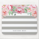 """Antique Pink Peony &amp; Greige Taupe Stripe Mouse Pad<br><div class=""""desc"""">Modern peony floral mousepad features chic greige taupe or gray-beige stripes with a bouquet of blush pink and sage green watercolor peonies blooming from the top. Personalize with a name,  monogram or message using the field provided.</div>"""