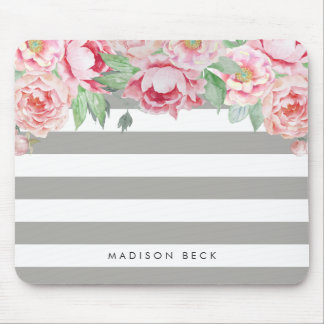 Antique Pink Peony & Greige Taupe Stripe Mouse Pad
