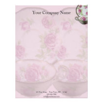 Antique Pink Rose Tea Cup on Mauve Letterhead