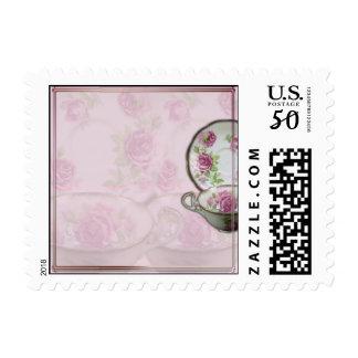 Antique Pink Rose Tea Cup on Mauve Postage