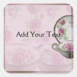 Antique Pink Rose Tea Cup on Mauve Square Sticker