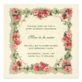 Antique Pink Roses Flowers Floral  Baby Shower Personalized Announcement