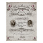 Antique Pink Roses Vintage Marriage Certificate Print