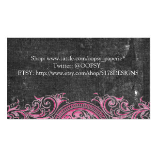 Antique Pink Scrollwork on Dark Canvas Business Card