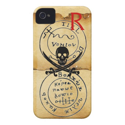ANTIQUE  PIRATES TREASURE MAP ,SKULL AND SWORDS iPhone 4 Case-Mate CASE