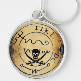 ANTIQUE  PIRATES TREASURE MAP ,SKULL AND SWORDS KEYCHAIN