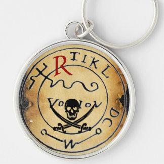 ANTIQUE PIRATES TREASURE MAP,SKULL AND SWORDS KEYCHAIN