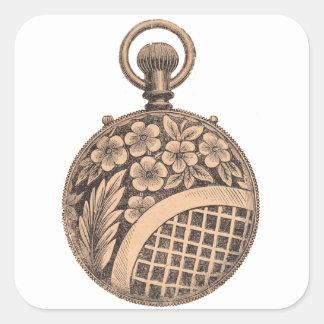 Antique Pocket Watch Horology Steampunk Square Sticker